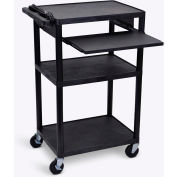 """Luxor Plastic Audio Visual Cart with Pull-Out Laptop Shelf 42""""H"""