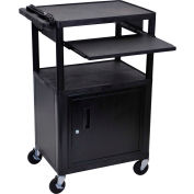 """Luxor Security AV Cart with Pull-Out Laptop Shelf 42""""H"""