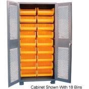 Jamco Bin Cabinet DK236 - 18 Bins, 14 Gauge Welded Expanded Mesh Door 36x24x78, Gray