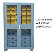 Jamco Bin Cabinet GF248 - 20 Bins 6 Drawers, 14 ga. Welded Expanded Mesh Door 48x24x78, Gray