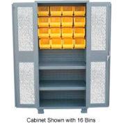 Jamco Bin Cabinet DY236 - 16 Bins 14 ga. Welded Expanded Mesh Door 2 Shelves, 36x24x78, Gray
