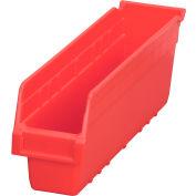 "Akro-Mils ShelfMax® Plastic Shelf Bin Nestable 30048 - 4-1/8""W x 17-7/8""D x 6""H Red - Pkg Qty 8"