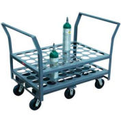 "Jamco Oxygen & Medical Cylinder Cart KN040 40 Type D & E Tanks 5"" Poly Casters Twin Handles"