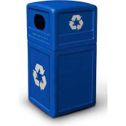 42 Gallon Square Plastic Recycling Container - Blue