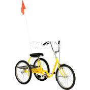 Medium Duty Industrial Tricycle 350 lb Capacity Single Speed Coaster Brake Yellow