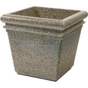"""Concrete Stone Tec Outdoor Planter, 19"""" Square Riverstone"""
