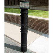 """Metro Decorative Bollard Cover with Solar Powered Light Fit Pipe 6""""-6-5/8"""" Black"""