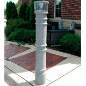 "Metro Decorative Bollard Cover with Solar Powered Light Fit Pipe 6""-6-5/8"" Gray"