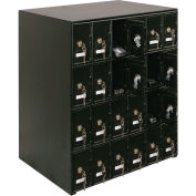 "24 Doors Cell Phone Locker 22""W x 16""D x 26""H Black with Master Key Lock Set"