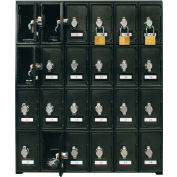 "24 Doors Cell Phone Locker 22""W x 16""D x 26""H Black with Hasp Locks"