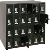 "24 Doors Cell Phone Locker 22""W x 16""D x 26""H Black with Tumbler Combo Locks"