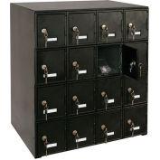 "16 Doors Cell Phone Locker 22""W x 16""D x 26""H Black with Key Locks"