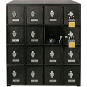 "16 Doors Cell Phone Locker 22""W x 16""D x 26""H Black with Hasp Locks"