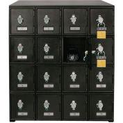 "16 Doors Cell Phone Locker 22""W x 16""D x 26""H Black with Hasp Locks"