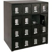 "16 Doors Cell Phone Locker 22""W x 16""D x 26""H Black with Tumbler Combo Locks"