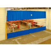 TMI Blue Curtain Wall Partition with Clear Vision Strip 12 x 10 QSCC-144X120