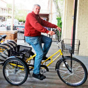 Adaptable Tricycle 500Lb Cap. 3Speed Coaster Brake with Rear Steel Basket Yellow