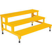 """Vestil ASP-48-3 Adjustable Height Step Stand, Carbon Steel 48""""W x 36""""L"""