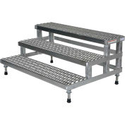 """Vestil ASP-48-3-SS Adjustable Height Step Stand, Stainless Steel 48""""W x 36""""L"""