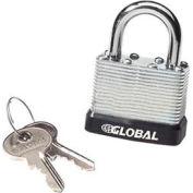 Global Industrial™ General Security Laminated Steel Padlock, Bumper & 2 Keys, Keyed Differently