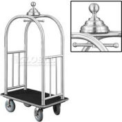 Glaro Ball Crown Bellman Cart 40x25 Satin Aluminum Black Carpet, 4 Gray Pneu Wheels