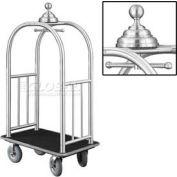 Glaro Ball Crown Bellman Cart 40x25 Satin Aluminum Black Carpet, 4 Gray Pneu Wheels