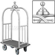 Glaro Ball Crown Bellman Cart 40x25 Satin Aluminum Gray Carpet, 4 Gray Pneu Wheels
