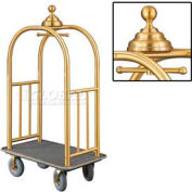 Glaro Ball Crown Bellman Cart 40x25 Satin Brass Gray Carpet, 4 Gray Pneu Wheels