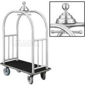 Glaro Ball Crown Bellman Cart 48x25 Satin Aluminum Black Carpet, 4 Gray Pneu Wheels