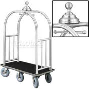 Glaro Ball Crown Bellman Cart 48x25 Satin Aluminum Black Carpet, 6 Gray Pneu Wheels