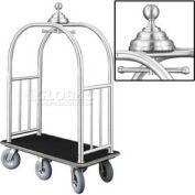 Glaro Ball Crown Bellman Cart 48x25 Satin Aluminum Black Carpet, 6 Gray Pneu Wheels