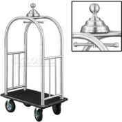 Glaro Ball Crown Bellman Cart 40x25 Satin Aluminum Black Carpet, 4 Black Pneu Wheels