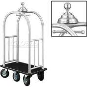 Glaro Ball Crown Bellman Cart 40x25 Satin Aluminum Black Carpet, 6 Black Pneu Wheels