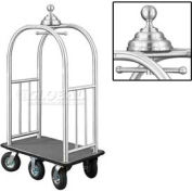 Glaro Ball Crown Bellman Cart 40x25 Satin Aluminum Gray Carpet, 6 Black Pneu Wheels
