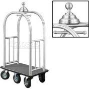 Glaro Ball Crown Bellman Cart 40x25 Satin Aluminum Gray Carpet, 6 Black Pneu Wheels