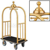Glaro Ball Crown Bellman Cart 40x25 Satin Brass Black Carpet, 4 Gray Pneu Wheels