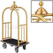Glaro Ball Crown Bellman Cart 40x25 Satin Brass Black Carpet, 4 Gray Pneu Wheels