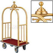 Glaro Ball Crown Bellman Cart 40x25 Satin Brass Burgundy Carpet, 4 Gray Pneu Wheels