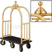 Glaro Ball Crown Bellman Cart 48x25 Satin Brass Black Carpet, 6 Black Pneu Wheels