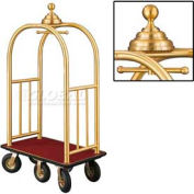 Glaro Ball Crown Bellman Cart 40x25 Satin Brass Burgundy Carpet, 6 Black Pneu Wheels