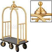 Glaro Ball Crown Bellman Cart 40x25 Satin Brass Gray Carpet, 6 Black Pneu Wheels