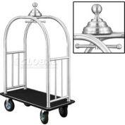 Glaro Ball Crown Bellman Cart 48x25 Satin Aluminum Black Carpet, 4 Black Pneu Wheels