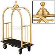 Glaro Ball Crown Bellman Cart 48x25 Satin Brass Black Carpet, 4 Black Pneu Wheels