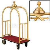 Glaro Ball Crown Bellman Cart 48x25 Satin Brass Burgundy Carpet, 4 Black Pneu Wheels