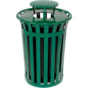 Global Industrial™ Outdoor Slatted Steel Trash Can With Rain Bonnet Lid, 36 Gallon, Green