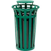 Global™ Outdoor Metal Slatted Trash Receptacle with Rain Bonnet Lid - 24 Gallon Green