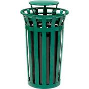 Global Industrial™ Outdoor Metal Slatted Trash Receptacle with Rain Bonnet Lid - 24 Gal Green