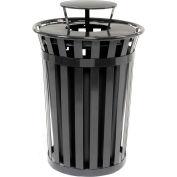 Global™ Outdoor Metal Slatted Trash Receptacle with Rain Bonnet Lid - 36 Gallon Black