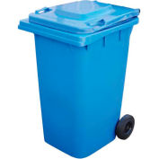 Vestil Mobile Trash Can TH-64-BLU - 64 Gallon Blue