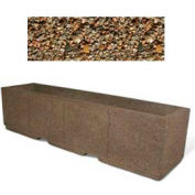 "Concrete Outdoor Planter w/Forklift Knockouts, 96""Lx24""W x 24""H Rectangle Tan River Rock"